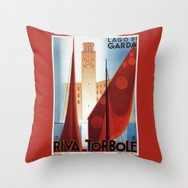 Art deco vintage Italian travel Riva Torbole Lake Garda Throw Pillow
