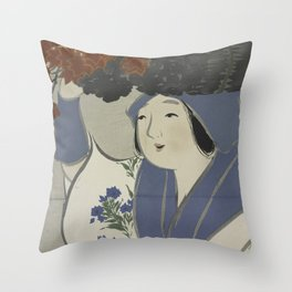 Woman Carrying Flowers Throw Pillow