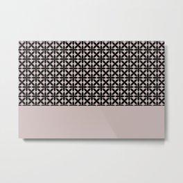 Black Square Petals Graphic Design Pattern on PPG Ash Rose Metal Print