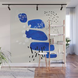 Fun Mid Century Modern Abstract Minimalist Phthalo Blue Stacked Pebbles Indigenous Art Wall Mural