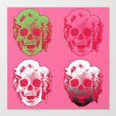 4 Marilyn Skullfaces In Pink Canvas Print