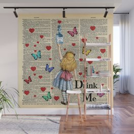 Drink Me - Vintage Dictionary Page - Alice In Wonderland Wall Mural