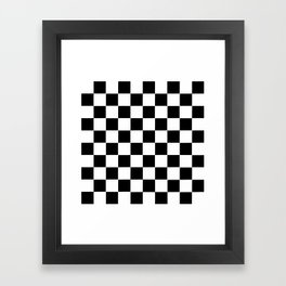 Checker Cross Squares Black & White Framed Art Print