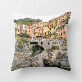 Colorful houses Cinque Terre   Manarola, Italy (Europe)   Colorful Travel Photography Throw Pillow