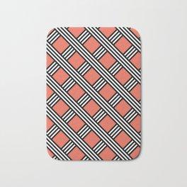 Pantone Living Coral, Black & White Diagonal Stripes Lattice Pattern Bath Mat