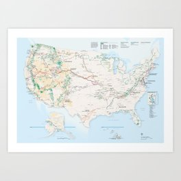 National Parks Trail Map Art Print