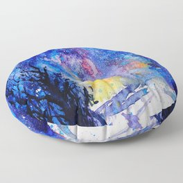 Midnight Galaxy Road watercolour by CheyAnne Sexton Floor Pillow