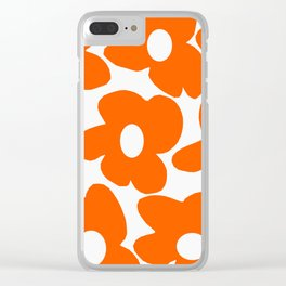 Orange Retro Flowers White Background #decor #society6 #buyart Clear iPhone Case