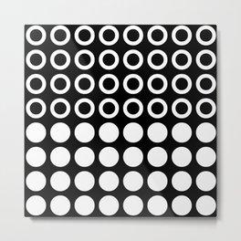 Mid Century Modern Circles And Dots Black & White Metal Print