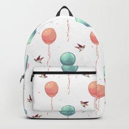 Cute teal coral brown birds balloons watercolor Backpack
