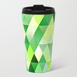 Chic Bright Lime Green Yellow Funky Retro Triangles Mosaic Pattern Travel Mug