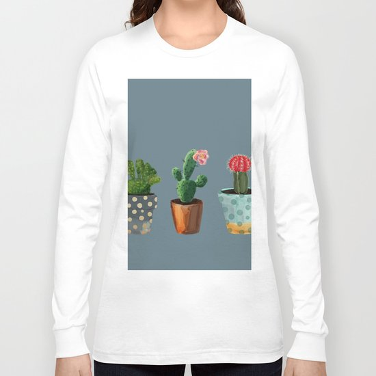 Three Cacti With Flowers On Blue Background Long Sleeve T-shirt