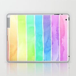 Watercolor Rainbow Stripes in Ombre Summer Pastels Laptop & iPad Skin