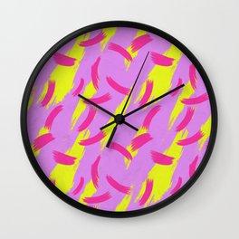 Neon Brush Stroke Pattern Wall Clock