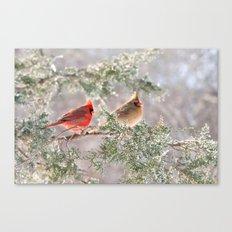 Hoarfrost Cardinals Canvas Print
