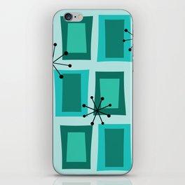 Mid Century Modern Art 'Wonky Doors' Turquoise Teal iPhone Skin