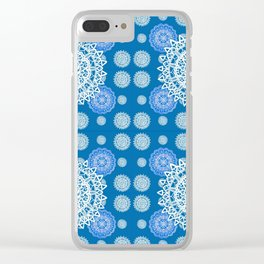 Bright Blue and Silver Kaleidoscope Mandala Pattern Clear iPhone Case