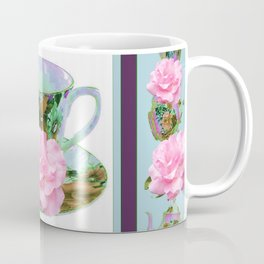 ABSTRACTED PINK ROSE TEA TIME BLUE PORCELAIN ART Coffee Mug