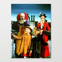 pennywise Canvas Prints featuring PENNYWISE IN MARY POPPINS by Luigi Tarini
