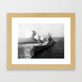 USS Missouri Firing Salvo - Korean War - 1950 Framed Art Print