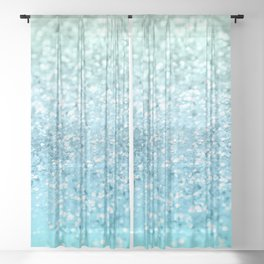 Seafoam Aqua Ocean MERMAID Girls Glitter #1 #shiny #decor #art #society6 Sheer Curtain