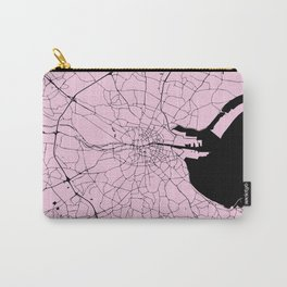Dublin Ireland Pink on Black Street Map Carry-All Pouch
