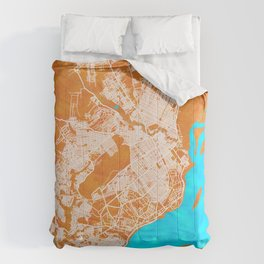 Brazzaville, Republic of the Congo, Gold, Blue, City, Map Comforters