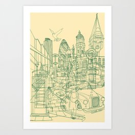 London! Cream Art Print