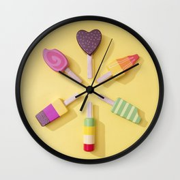 Ice Cream Lollipops on a Bright Yellow Background Wall Clock