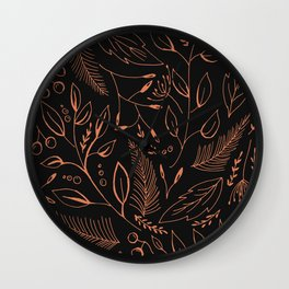 Holiday Pattern in black background and rose leaves Wall Clock