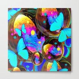 BLUE BUTTERFLIES & IRIDESCENT ORBS ART Metal Print