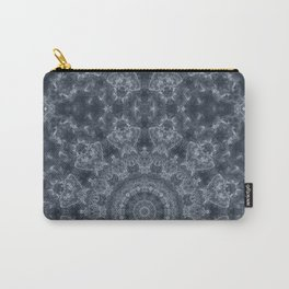 Gray - blue marble kaleidoscope, ornament elements print Carry-All Pouch