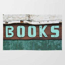 Rustic Aqua Birch Bark Book Art Rug