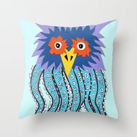 cthulu Throw Pillows featuring the owl of cthulu by ronnie mcneil