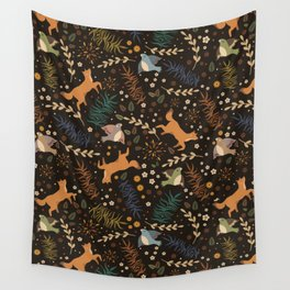 Autumn Woodsy Floral Forest Pattern With Foxes And Birds Wall Tapestry