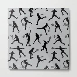 Tennis Players // Light Grey Metal Print