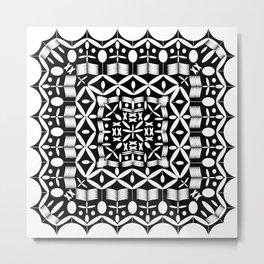 Mandala Square Black & White Metal Print