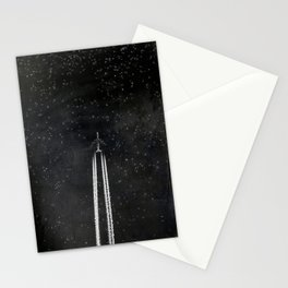 Star Flight - Airplane crossing a starry sky Stationery Cards