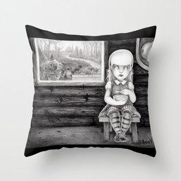 """""""The Porridge Thief"""" (Goldilocks) Throw Pillow"""