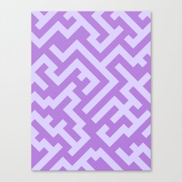Pale Lavender Violet and Lavender Violet Diagonal Labyrinth Canvas Print