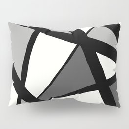 Geometric Line Abstract - Black Gray White Pillow Sham