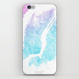 New York City Watercolor Map #5 iPhone Skin