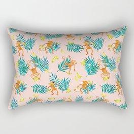 Tropical Monkey Banana Bonanza on Blush Pink Rectangular Pillow