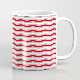 Red Silver and White Christmas Wavy Chevron Stripes Coffee Mug