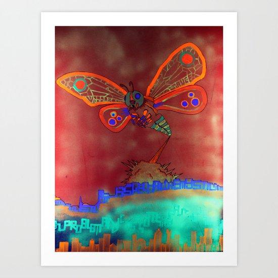 Bad Ash Mothra Funker Full (Wobblesauce) Art Print