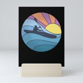 Retro Kayaking Kayak Kayaker Sunset Mini Art Print