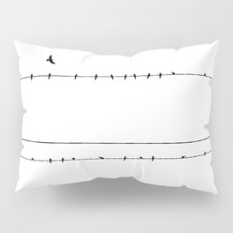 The Birds on the Line (Black and White) Pillow Sham