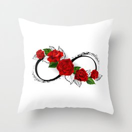 Infinity Symbol with Red Roses Throw Pillow