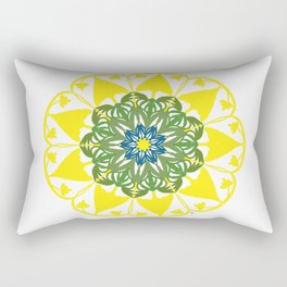 Yellow Green and Blue Mandala Flower Rectangular Pillow