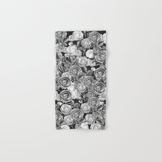 Vintage Roses Black And White Hand Bath Towel By Lavieclaire Society6